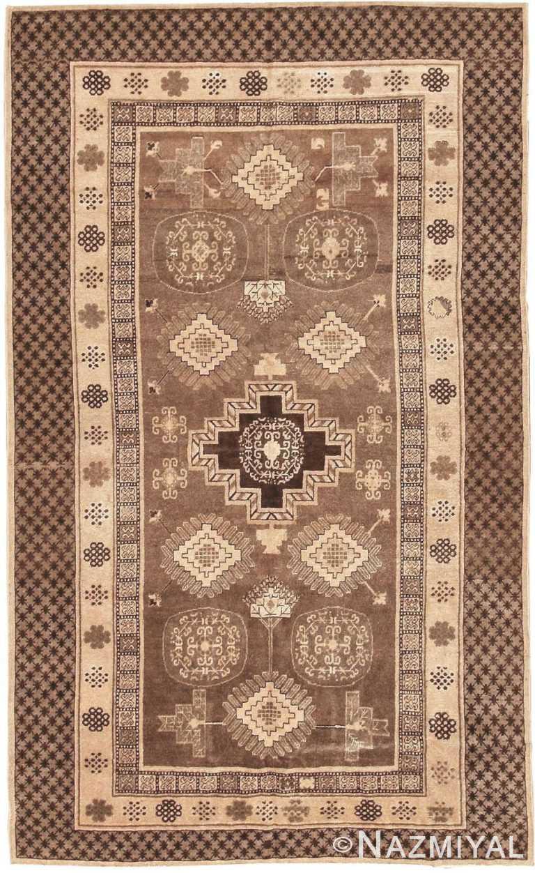 Brown and Tan Antique Khotan Rug 42529 by Nazmiyal NYC