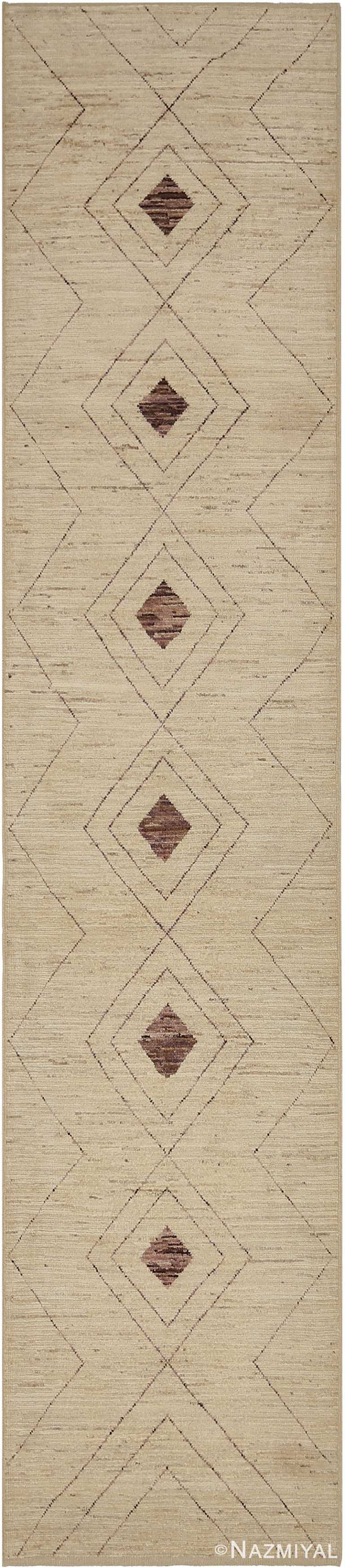 Beige and Brown Modern Moroccan Style Runner Rug 60333 by Nazmiyal NYC