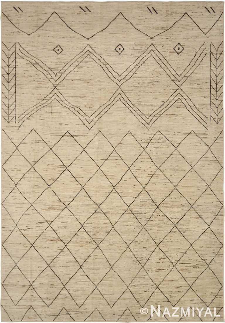 Berber Design Ivory Modern Moroccan Style Rug 60341 by Nazmiyal NYC