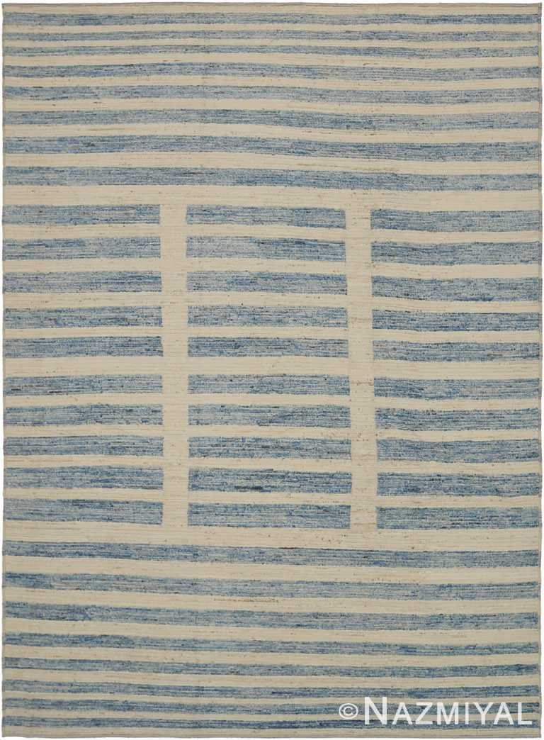 Ivory and Blue Modern Moroccan Style Rug 60339 by Nazmiyal NYC