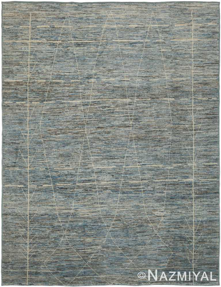 Blue Modern Moroccan Style Rug 60324 by Nazmiyal NYC