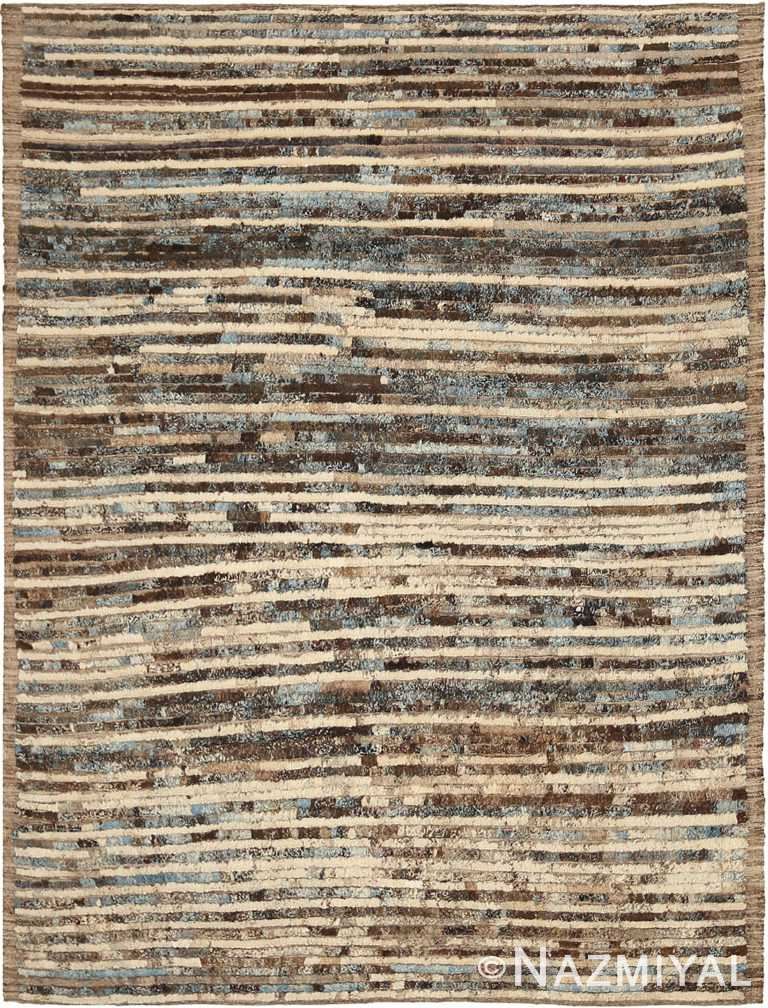Brown and Beige Modern Moroccan Style Rug 60346 by Nazmiyal NYC