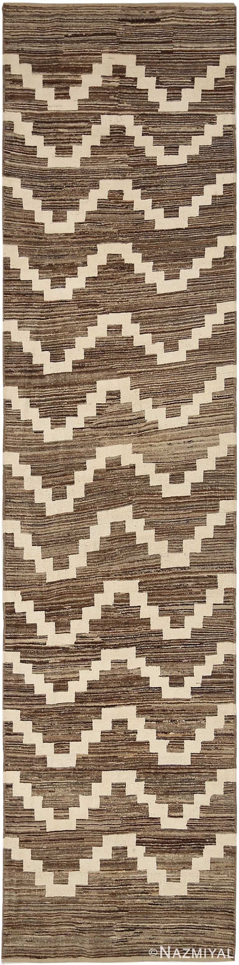 Brown Berber Design Modern Moroccan Style Runner Rug 60334 by Nazmiyal NYC