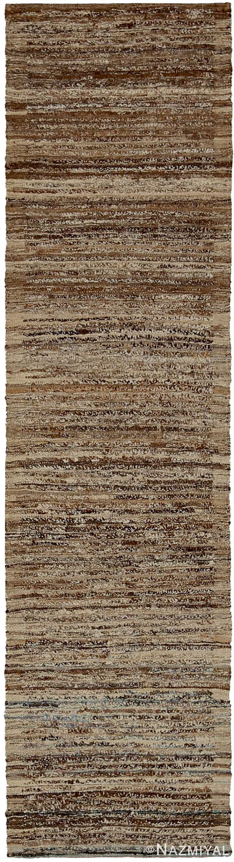 Brown and Beige Modern Moroccan Style Runner Rug 60348 by Nazmiyal NYC
