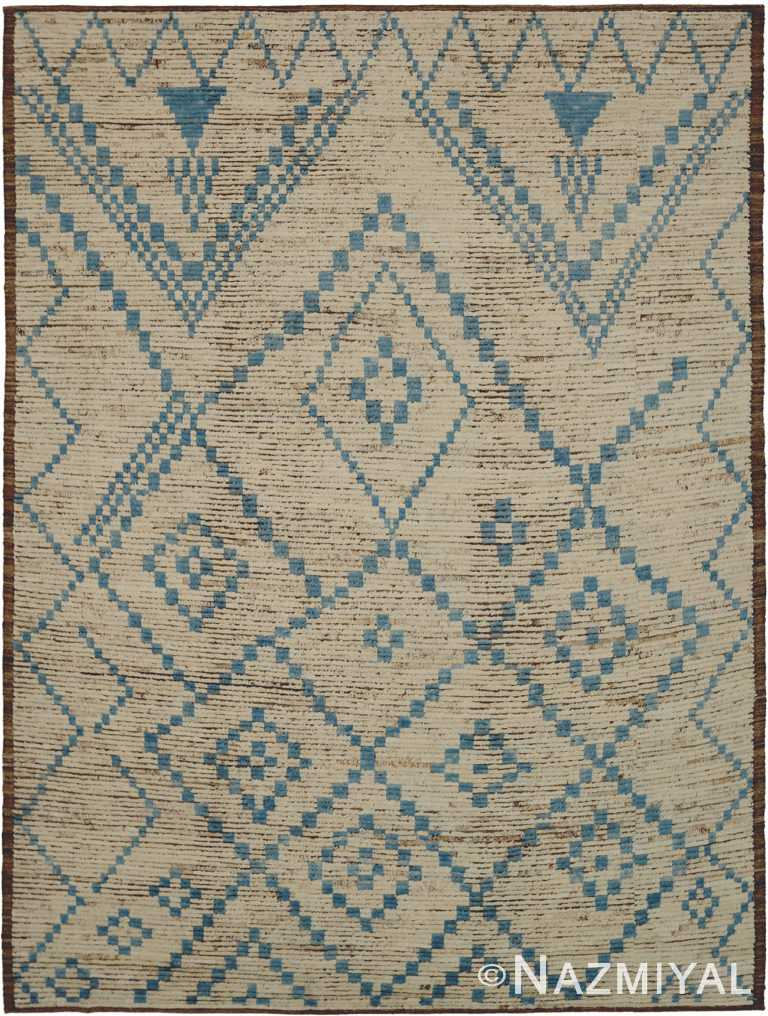 Cream and Blue Modern Moroccan Style Rug 60343 by Nazmiyal NYC