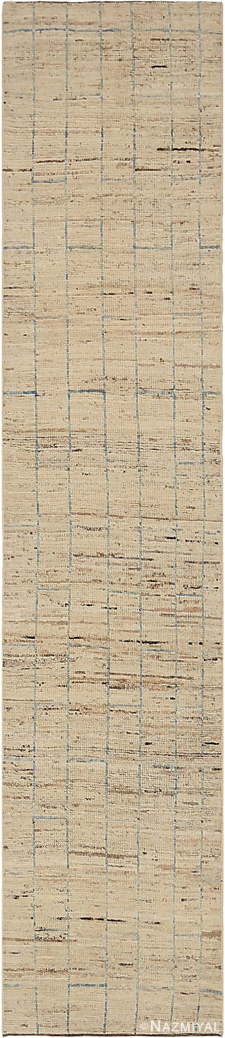 Cream Modern Moroccan Style Runner Rug 60337 by Nazmiyal NYC