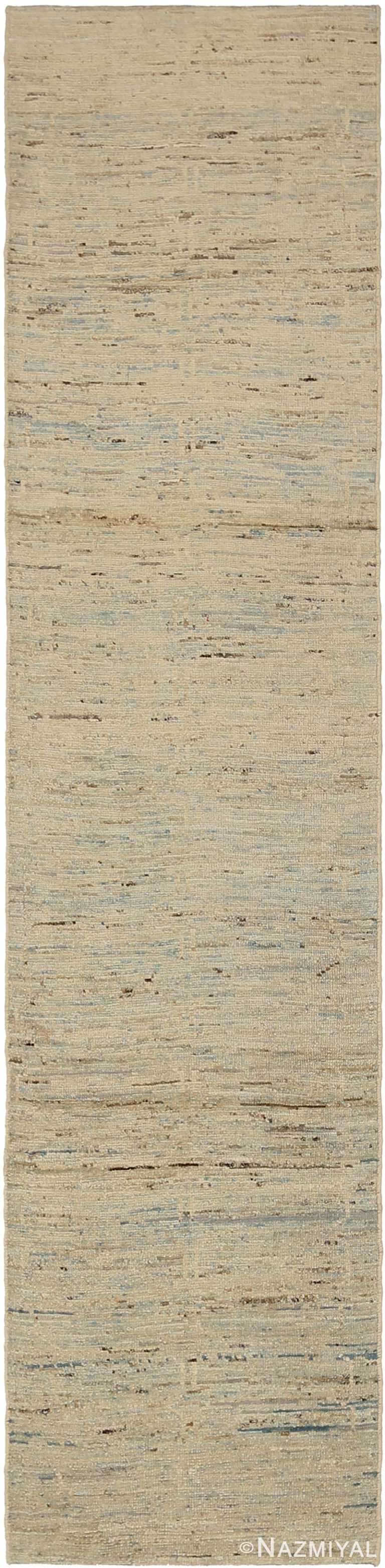 Cream Modern Moroccan Style Runner Rug 60345 by Nazmiyal NYC