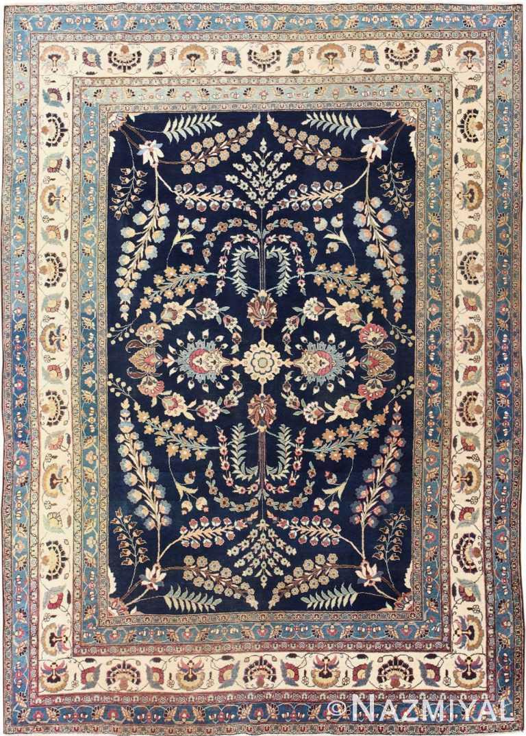 Fine Blue Background Antique Khorassan Persian Rug 48768 Nazmiyal NYC