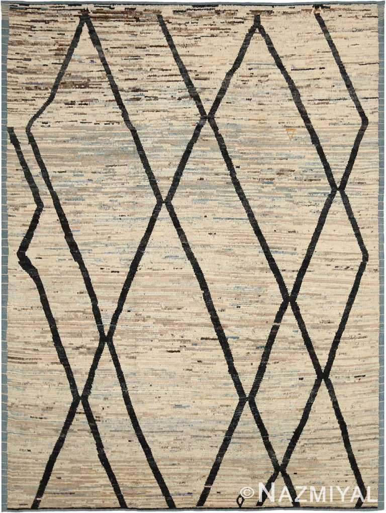 Berber Design Beige Modern Moroccan Style Rug 60332 by Nazmiyal NYC