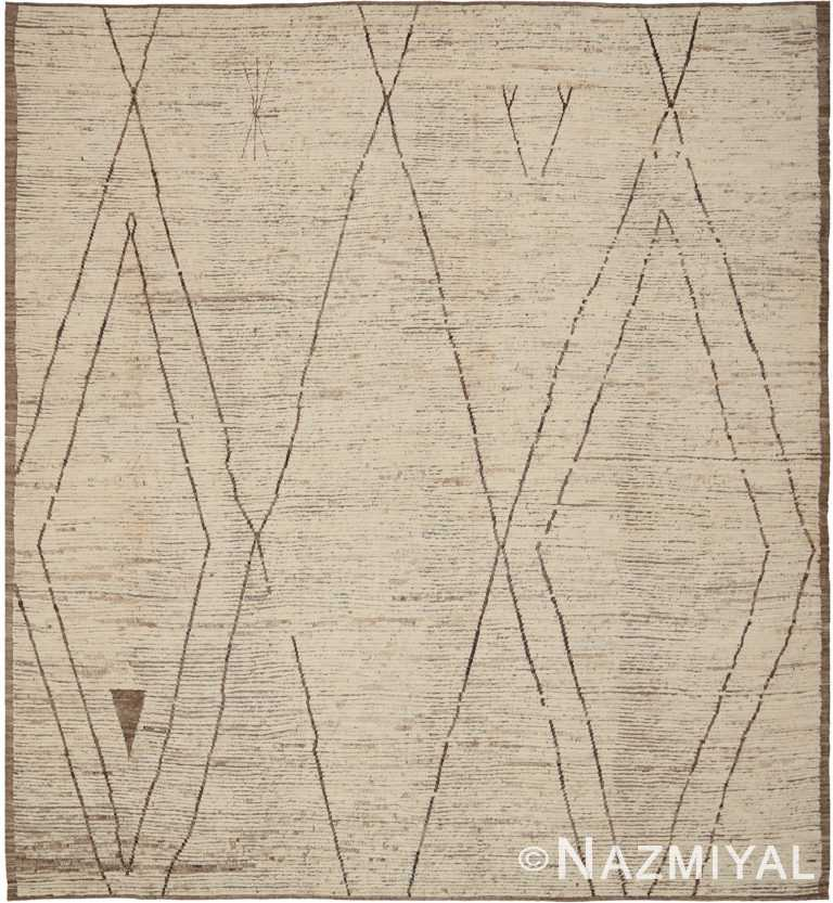 Square Size Ivory Cream Modern Moroccan Style Rug 60344 by Nazmiyal NYC