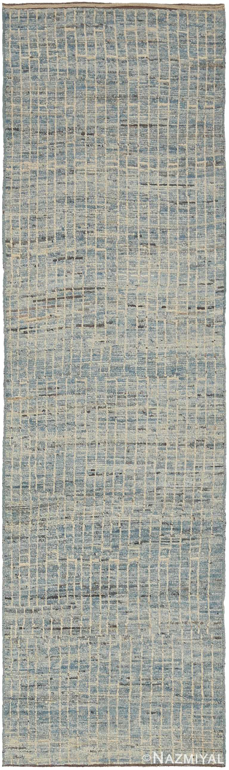 Light Blue Modern Moroccan Style Runner Rug #60326 by Nazmiyal NYC