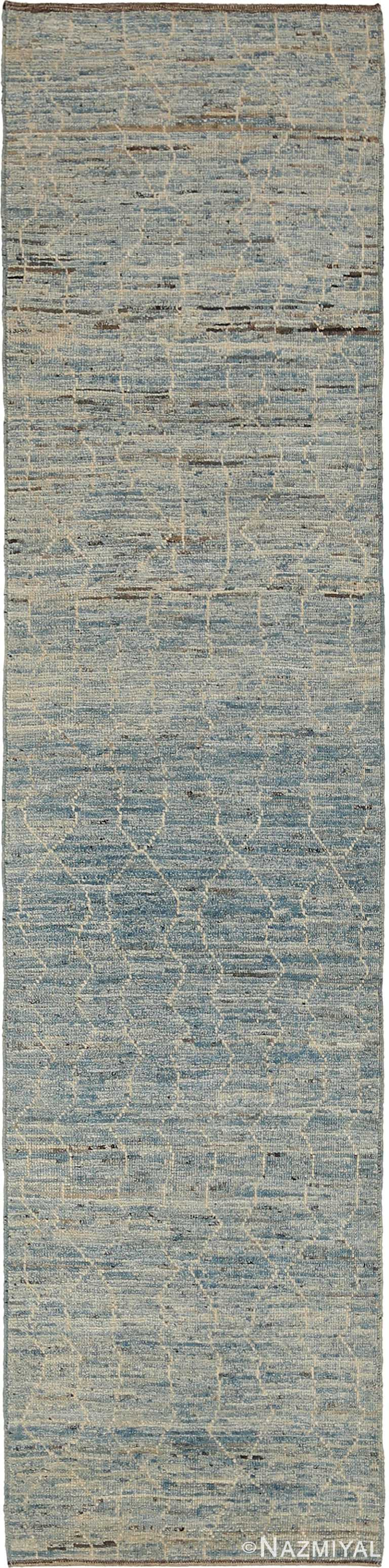 Soft Grey Blue Modern Moroccan Style Runner Rug 60323 by Nazmiyal