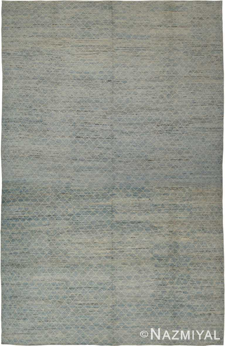 Soft Blue Grey Oversized Modern Moroccan Style Rug 60322 by Nazmiyal NYC