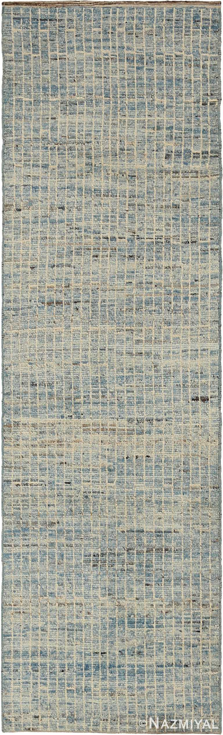 Soft Ivory and Light Blue Modern Moroccan Style Runner Rug #60327 by Nazmiyal Antique Rugs