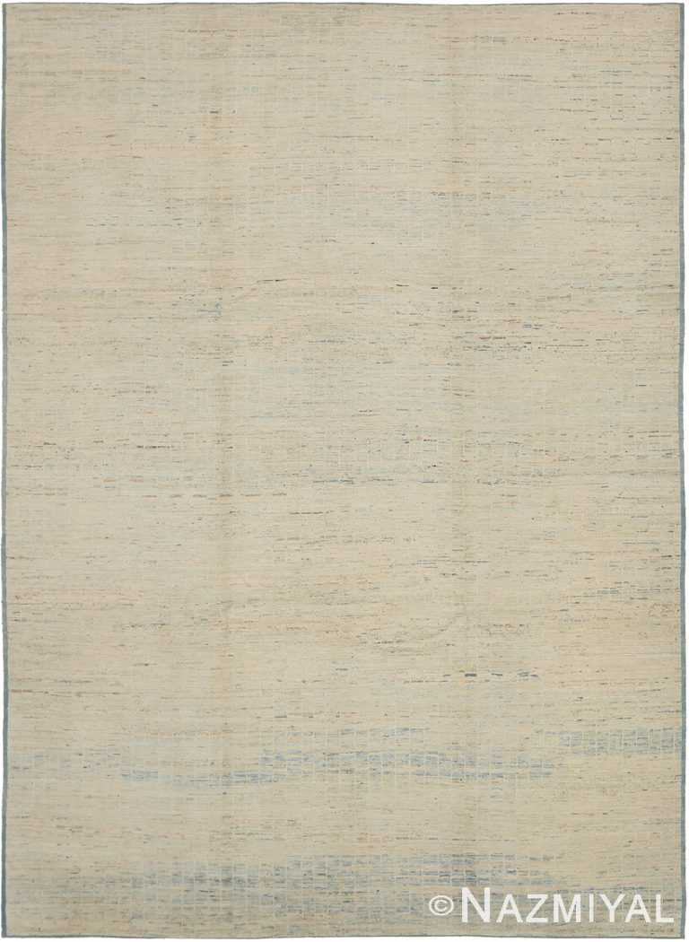 Taupe and Blue Modern Moroccan Style Rug 60325 by Nazmiyal NYC