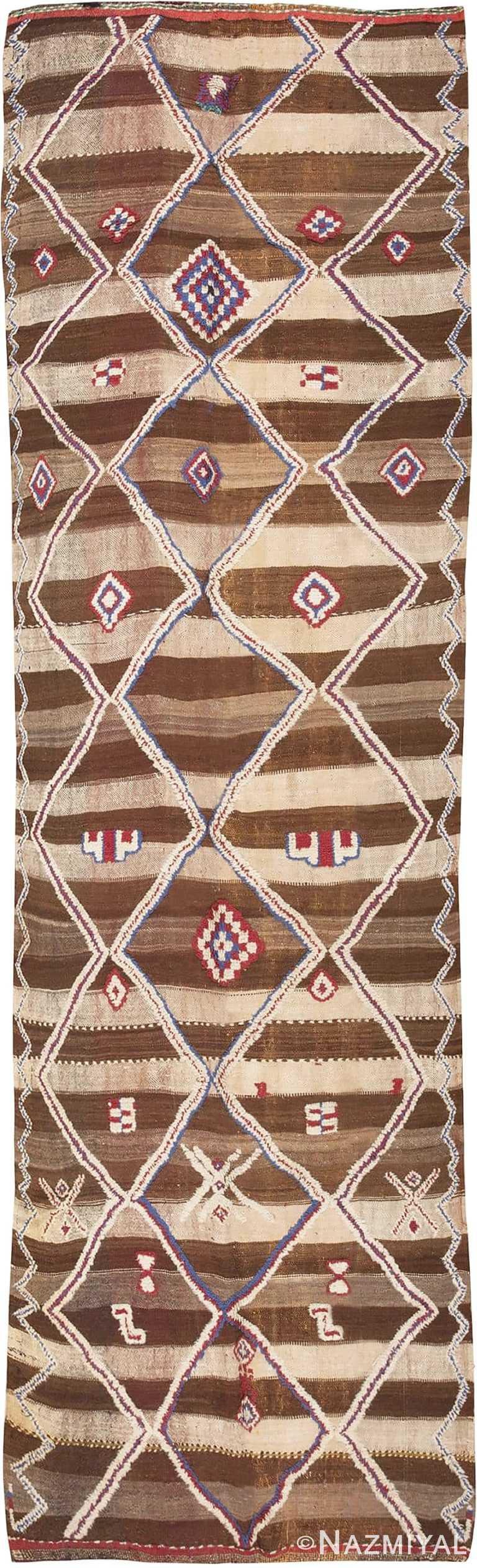Tribal Vintage Moroccan Kilim Runner Rug #45683 by Nazmiyal Antique Rugs