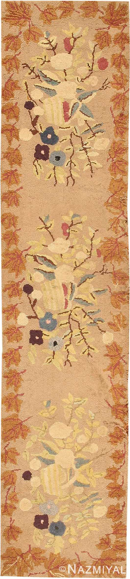 Antique American Hooked Runner Rug #2510 by Nazmiyal Antique Rugs