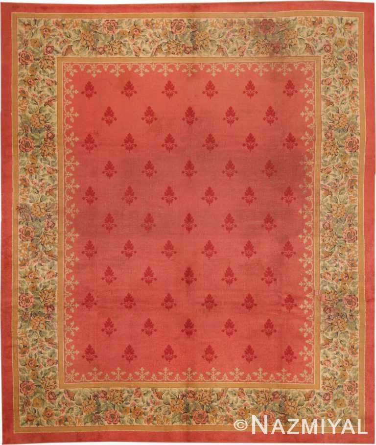 Antique English Red Rug #1832 by Nazmiyal Antique Rugs