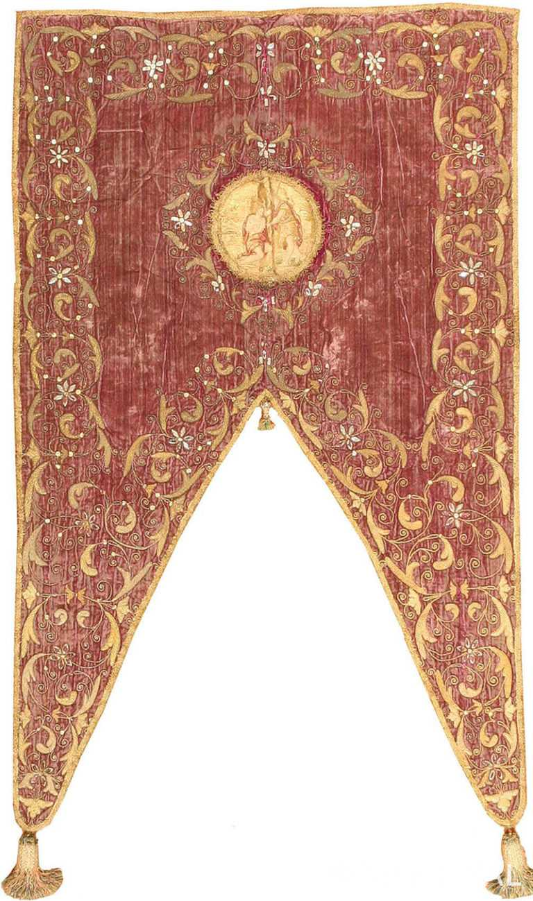 Antique European Embroidery #3391 by Nazmiyal Antique Rugs