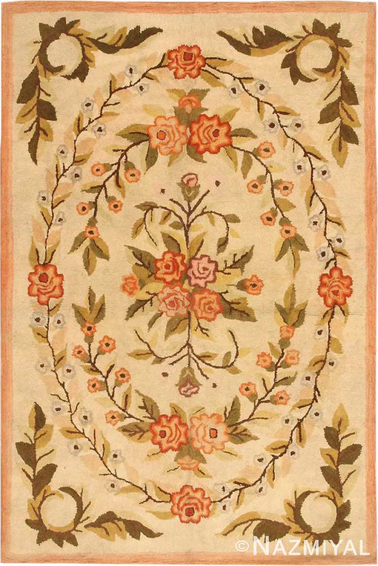 Antique Floral American Hooked Rug #2454 by Nazmiyal Antique Rugs