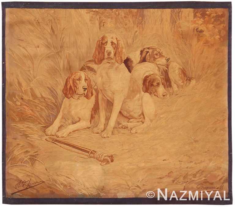 Antique French Tapestry Dog Rug 2069 by Nazmiyal NYC