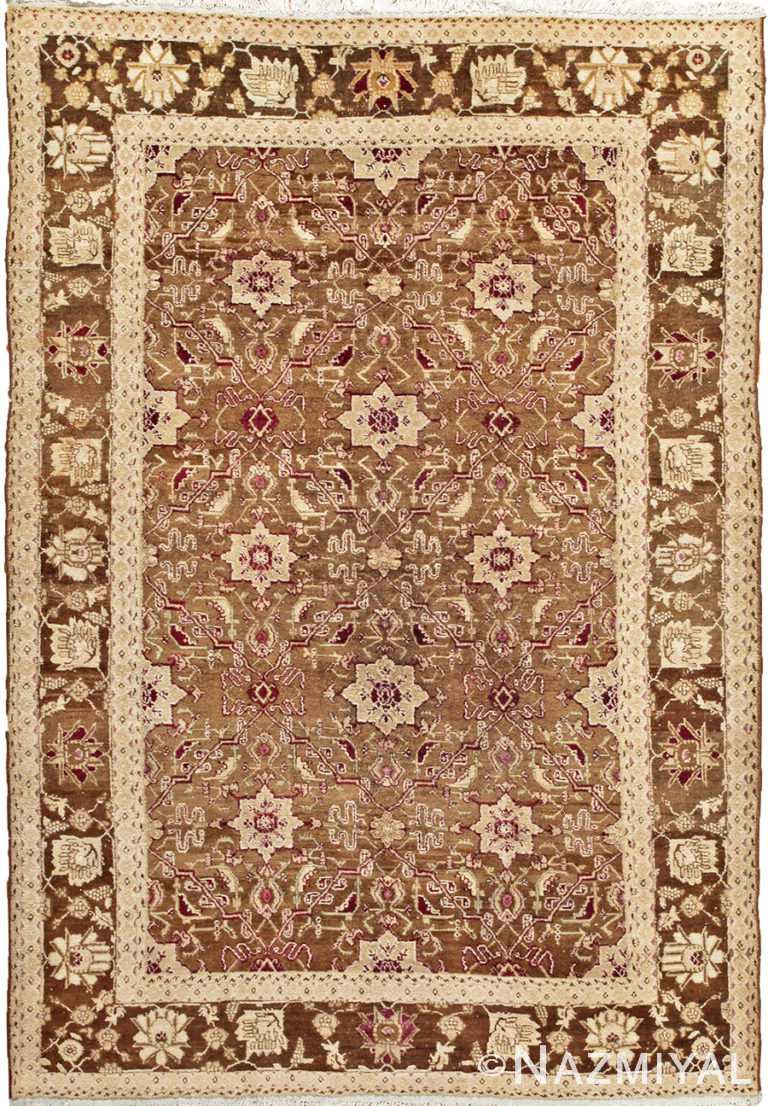 Antique Green Indian Agra Rug #44605 by Nazmiyal Antique Rugs