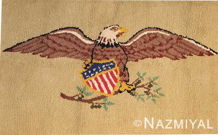 Antique Hooked American Eagle Rug #41024 by Nazmiyal Antique Rugs