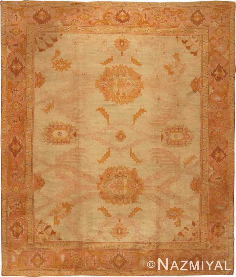 Soft Large Scale Antique Turkish Oushak Rug #2708 by Nazmiyal Antique Rugs