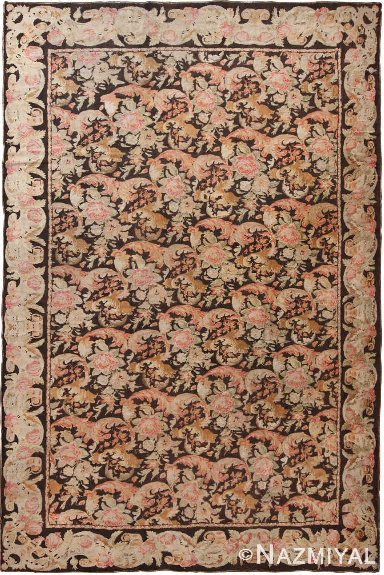 Floral Antique Ukrainian Pile Rug 70647 by Nazmiyal NYC