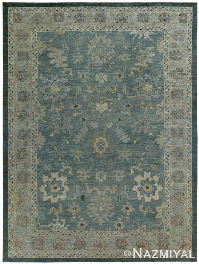 Blue Modern Turkish Oushak Rug 60384 by Nazmiyal NYC