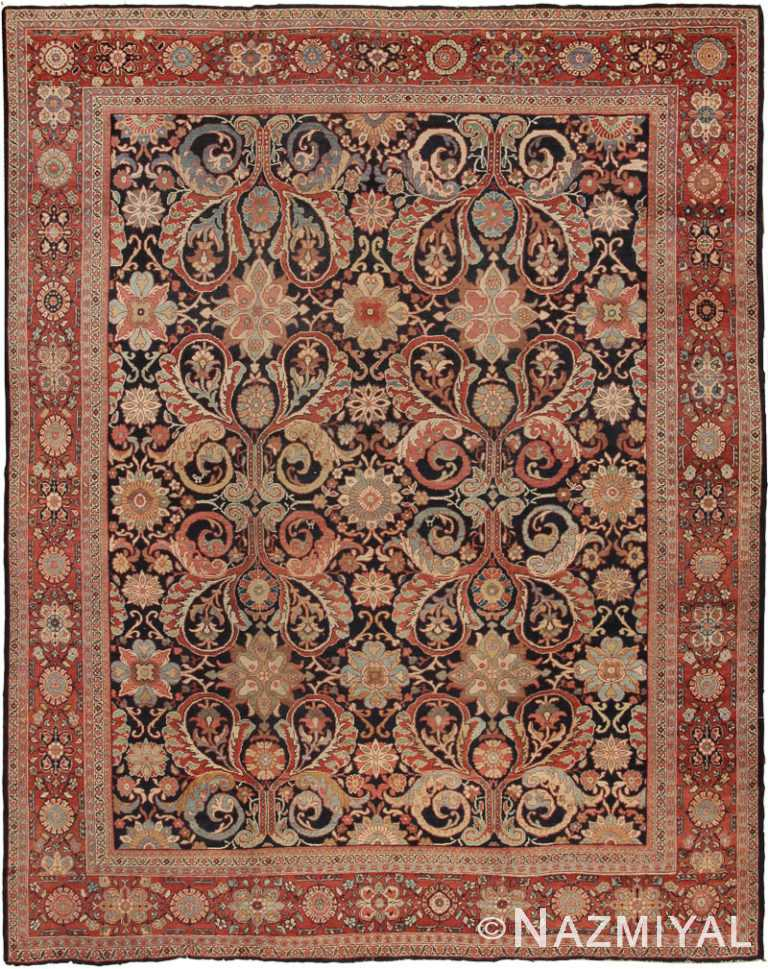 Blue Room Size Antique Persian Sultanabad Rug #7997 by Nazmiyal Antique Rugs