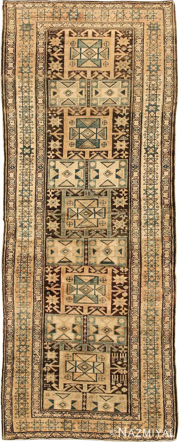 Brown Earth Tone Tribal Antique Persian Malayer Runner Rug #43059 by Nazmiyal Antique Rugs