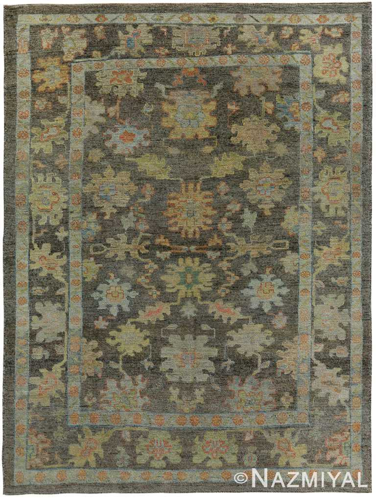 Brown Green Modern Turkish Oushak Rug 60387 by Nazmiyal NYC