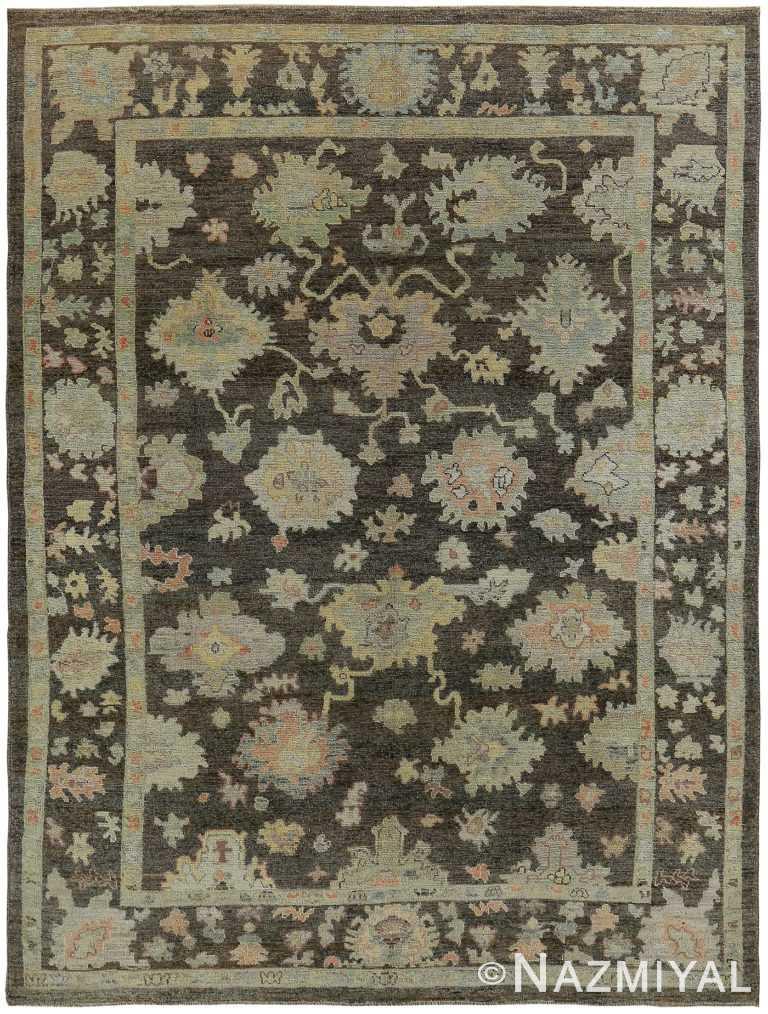 Brown Modern Turkish Oushak Rug 60382 by Nazmiyal NYC