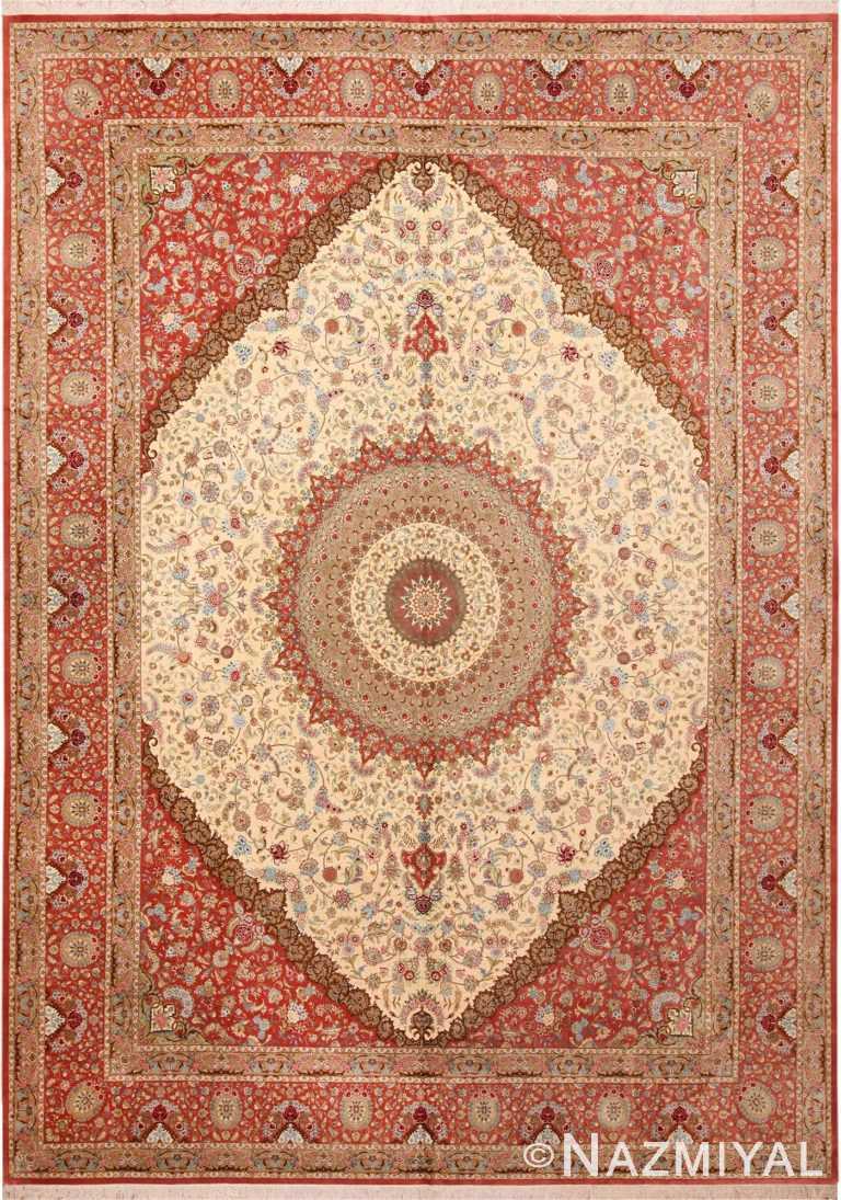 Fine Floral Medallion Vintage Persian Silk Qum Rug 70244 by Nazmiyal NYC