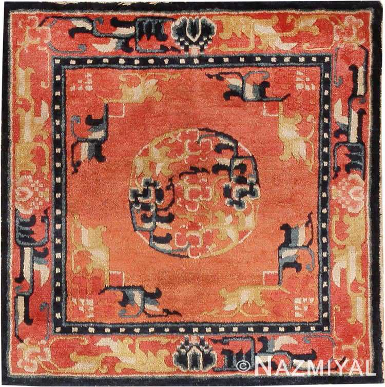 Floral Square Small Scatter Size Antique Chinese Red Rug #44843 by Nazmiyal Antique Rugs