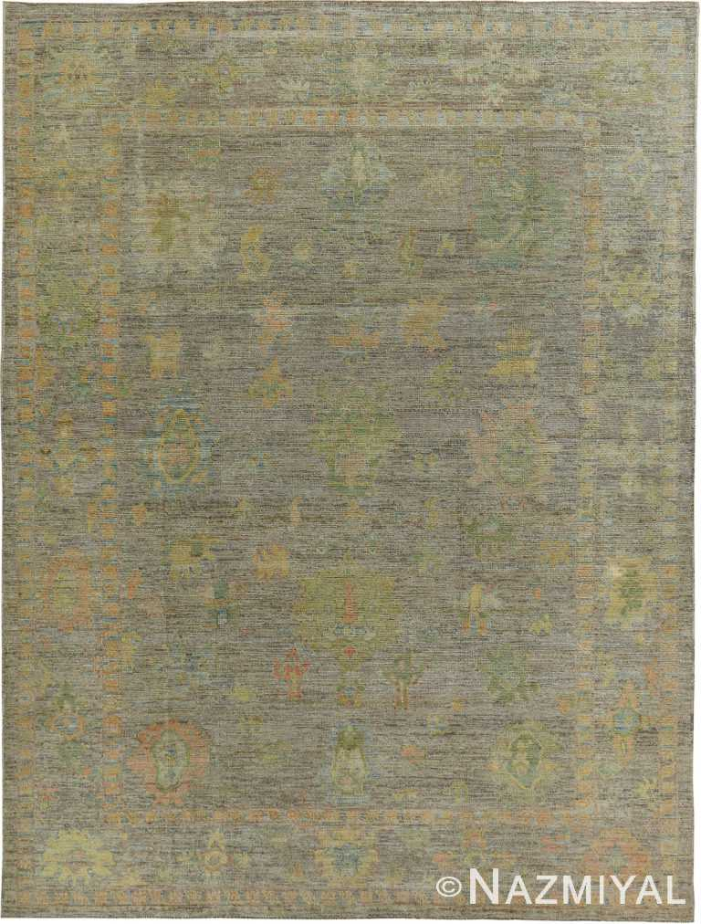 Green Earth Tone Modern Turkish Oushak Rug #60383 by Nazmiyal Antique Rugs