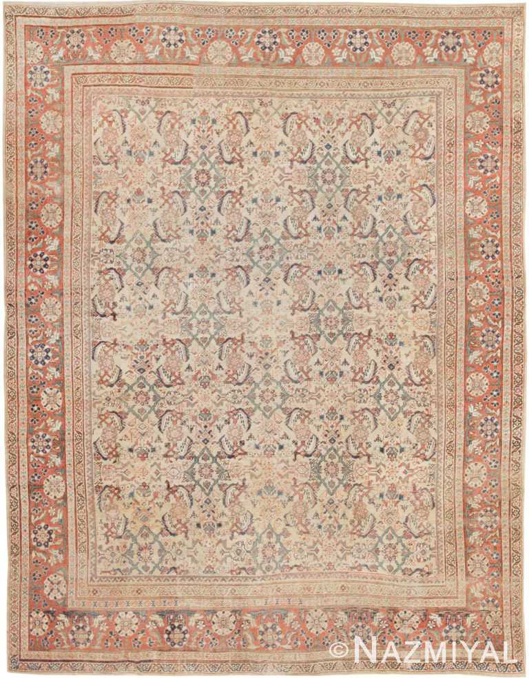 Ivory Herati Design Antique Persian Sultanabad Rug #42301 by Nazmiyal Antique Rugs