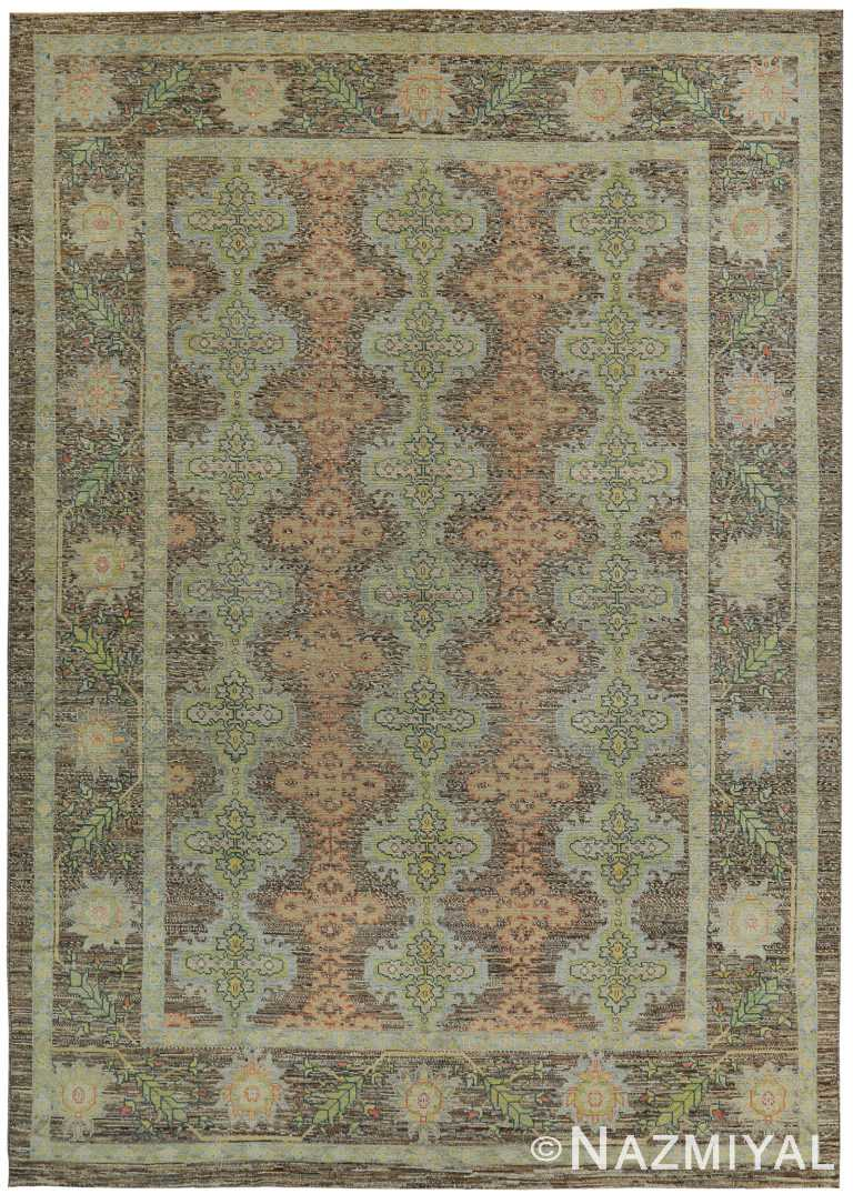 Large Earth Tone Decorative Modern Turkish Oushak Rug 60388 by Nazmiyal NYC