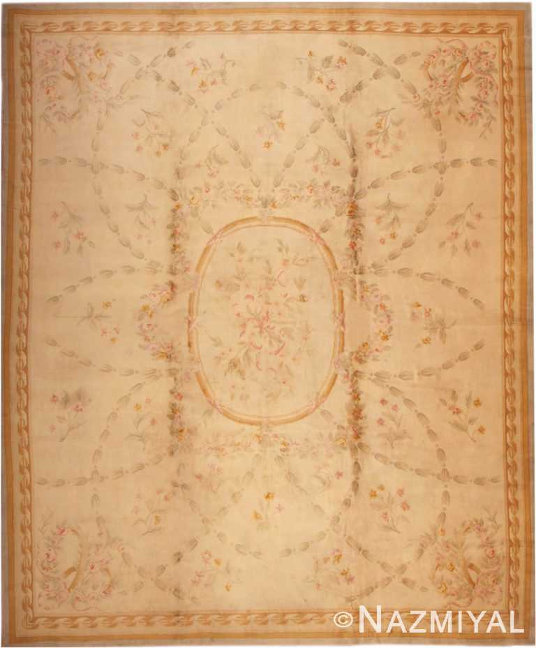 Large Floral Antique French Savonnerie Carpet #3204 by Nazmiyal Antique Rugs