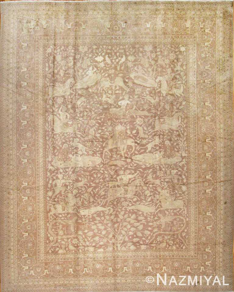 Large Shabby Chic Antique Amritsar Indian Hunting Rug #42296 by Nazmiyal Antique Rugs