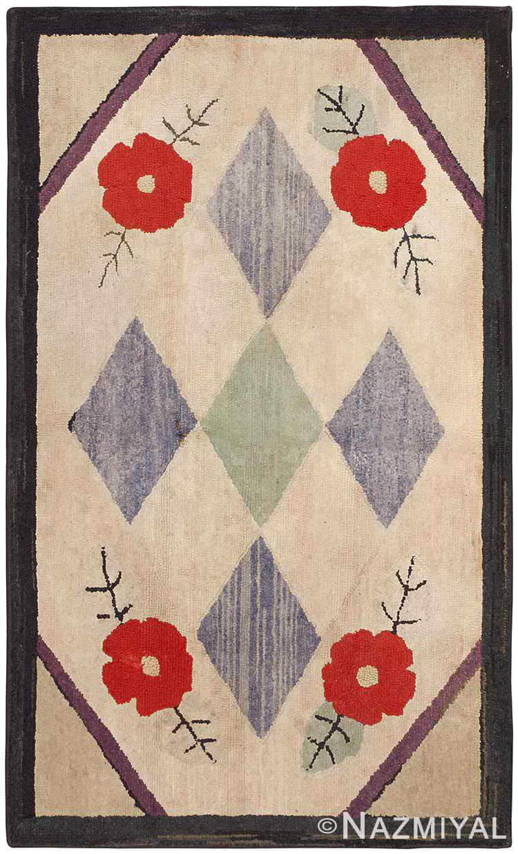 Small Floral Antique Hooked American Rug #46526 by Nazmiyal Antique Rugs
