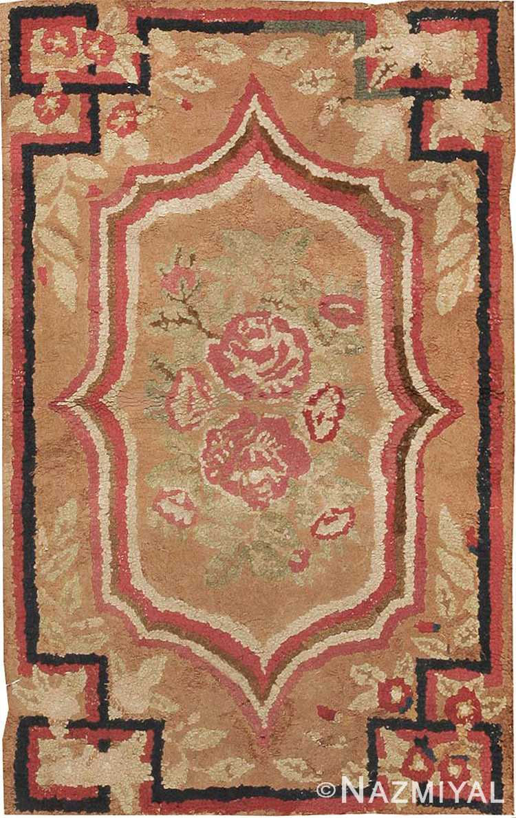 Small Scatter Size Antique Floral American Hooked Rug #2556 by Nazmiyal Antique Rugs