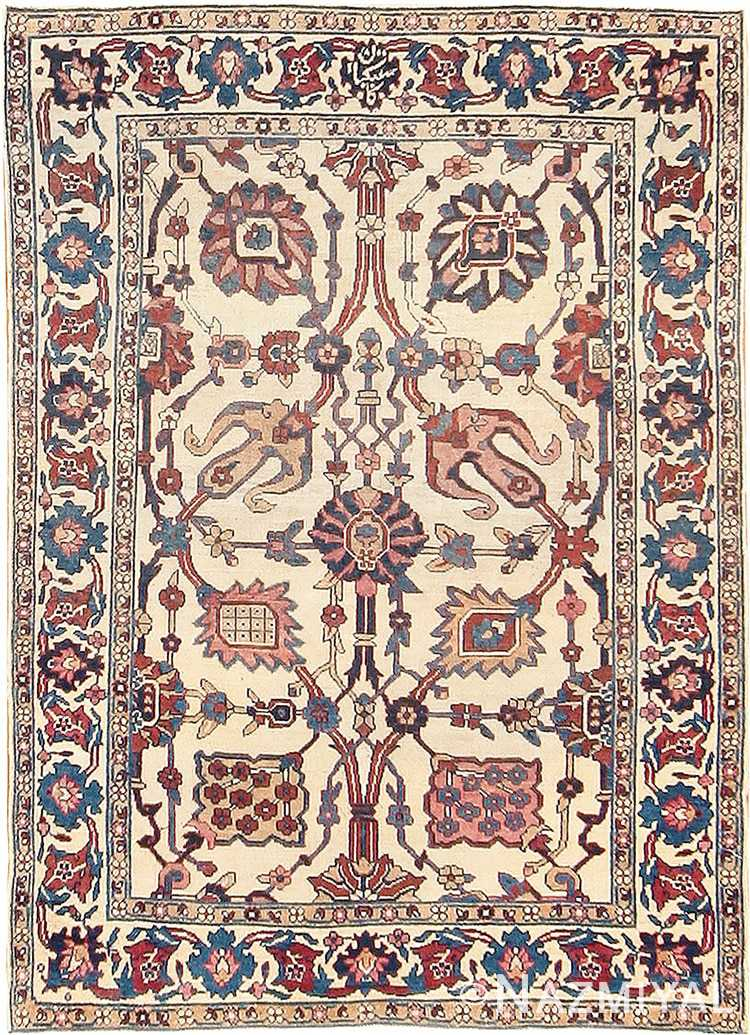 Small Scatter Size Antique Persian Kerman Rug #42480 by Nazmiyal Antique Rugs