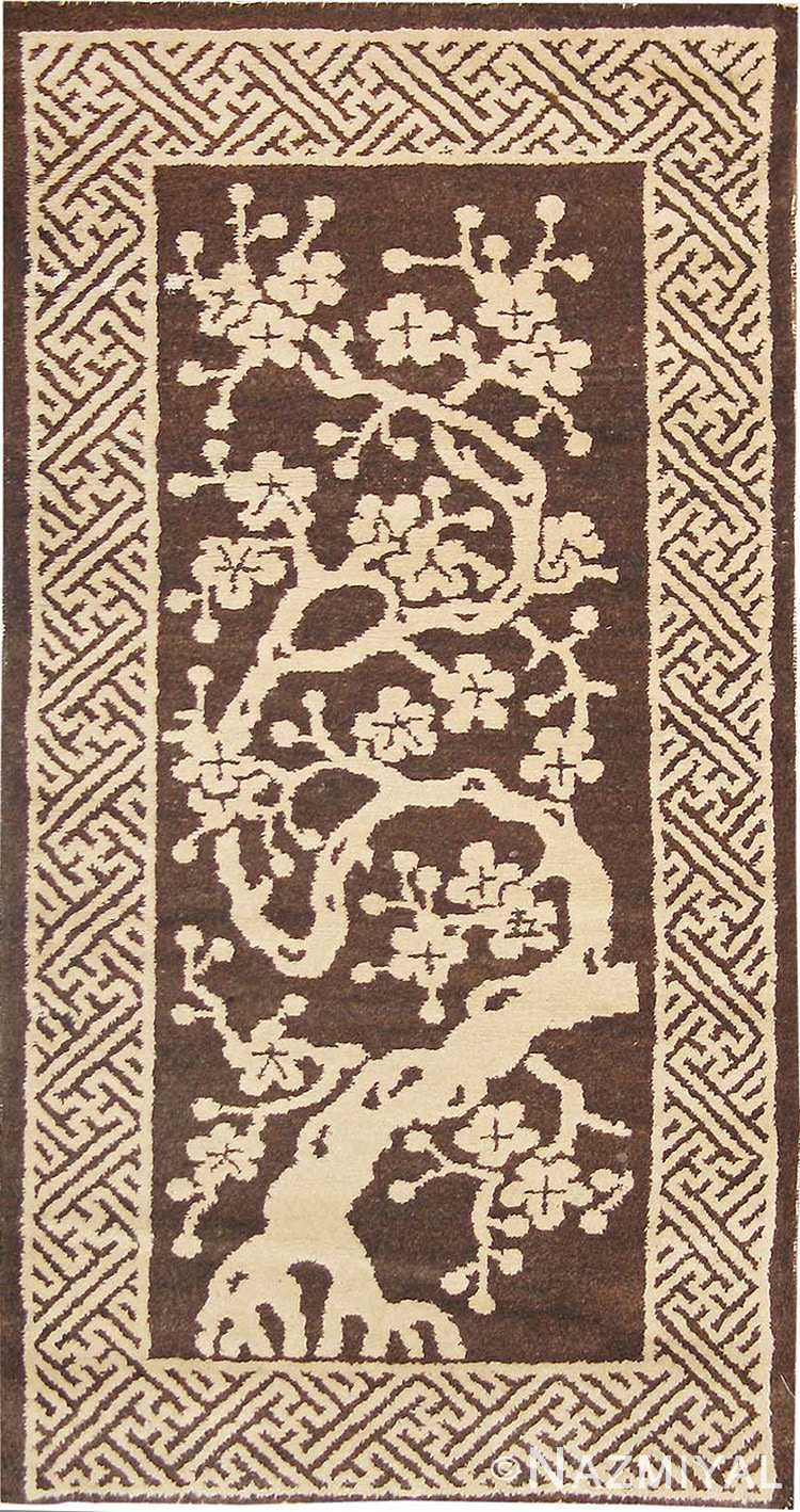 Small Scatter Size Brown Antique Chinese Peking Rug #1619 by Nazmiyal Antique Rugs