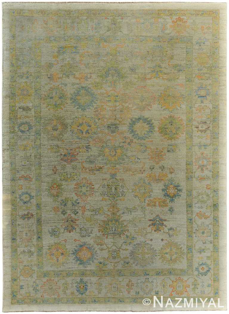 Soft Green Modern Turkish Oushak Rug 60392 by Nazmiyal NYC