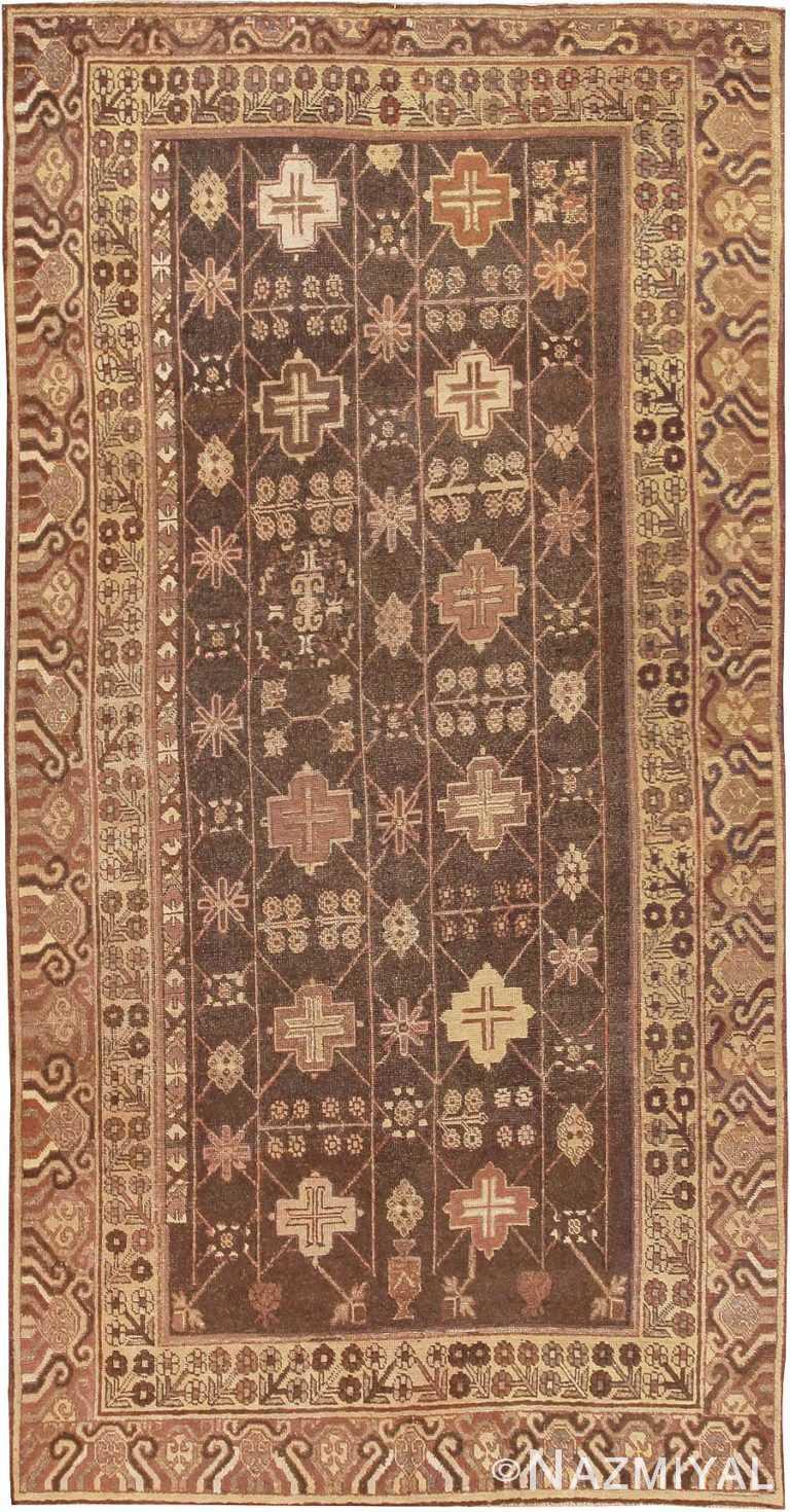 Tribal Brown Antique Khotan Rug #44546 by Nazmiyal Antique Rugs