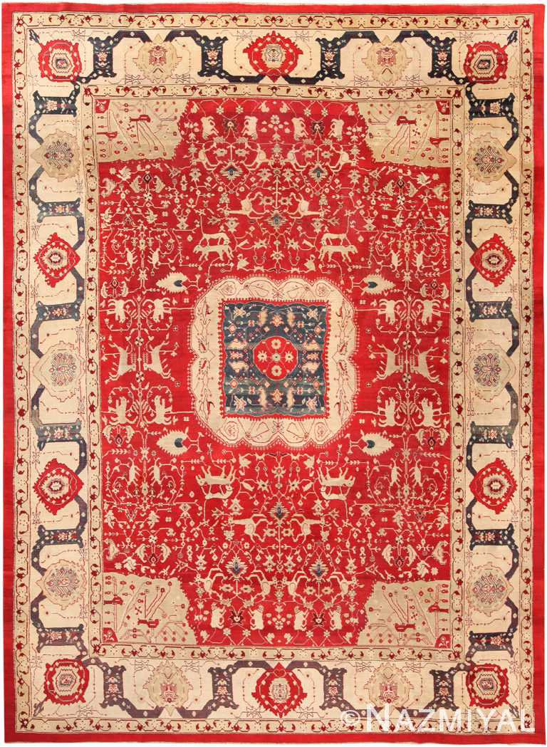 Antique Indian Agra Medallion Rug 70775 by Nazmiyal NYC