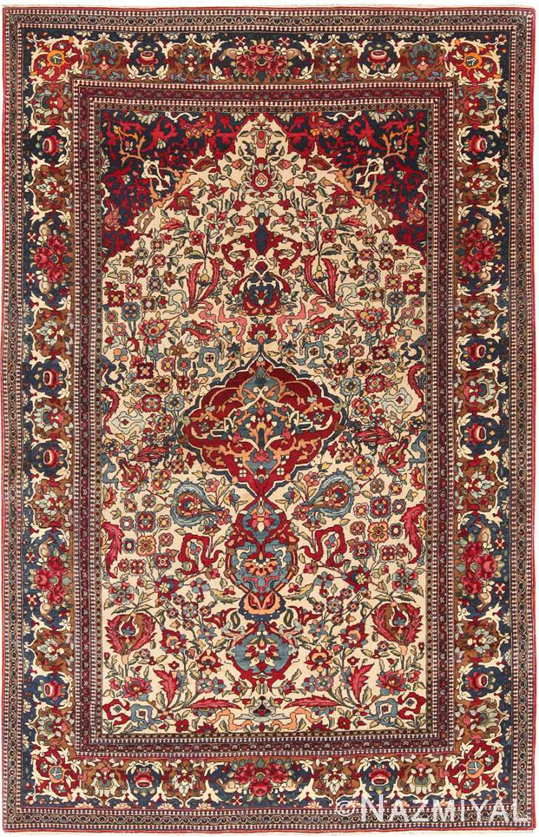 Antique Vase Design Persian Isfahan Prayer Rug 70766 by Nazmiyal NYC