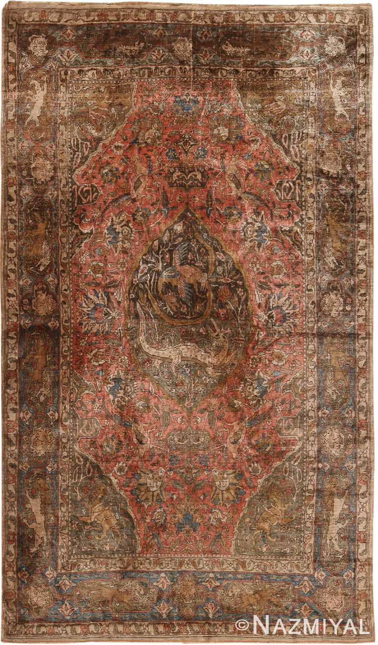 Antique Silk Persian Mythical Farahan Rug 70772 by Nazmiyal NYC